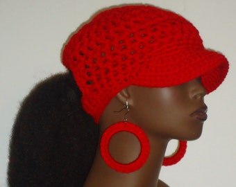 PonyTail Crochet Baseball Cap with Hoop Earrings  by Razonda Lee Razondalee Choose Your Color Made to Order