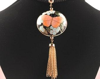 Hobé Necklace, Vintage Jewelry, Tassel Necklace, Hobe Jewelry, Cloisonné Butterfly Necklace, 70s Necklace, Long Pendant Necklace, Gold Tone