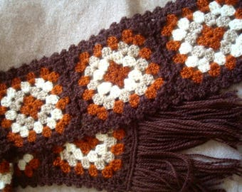 Vintage Crocheted peggy square Scarf brown/tan soft