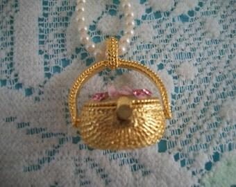 Flower Basket Pendant on Pearl Necklace by Edgar Berebi