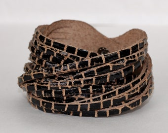 Multi Strand Leather Cuff  Bracelet , Dark Brown  Patent Leather Bracelet Double Wrap