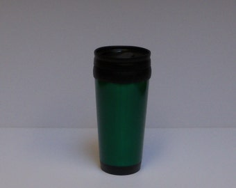 Travel mug, insulated stainless steel, green, 14 oz, FREE Custom Engraving