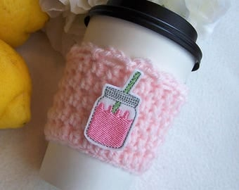 Crochet Coffee Cozy - Pink Lemonade