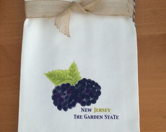 Blackberries Kitchen Towel Farm Stand Garden State New Jersey Cotton with State Option