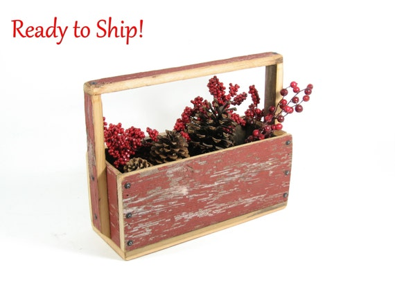 Red Barnwood Tote Table Centerpiece Wood Box Reclaimed Red Barnwood Flower Box Recycled Wood