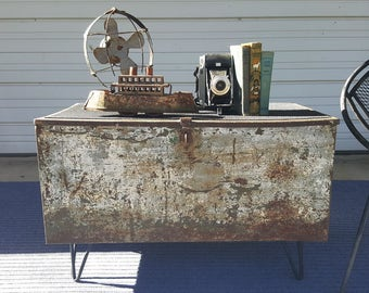 Vintage Distressed Industrial Metal Coffee Table