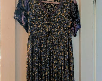 "Upcycled  Handmade Vintage Dress with Pockets, ""Mia's Armoire"" Circa 1990's"