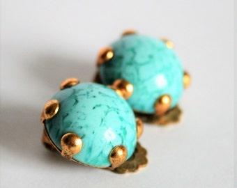 Vintage turquoise glass earrings.  Clip on earrings