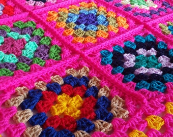 SALE Retro Vintage Style Granny Squares Shocking Pink Blanket Afghan Sofa Throw