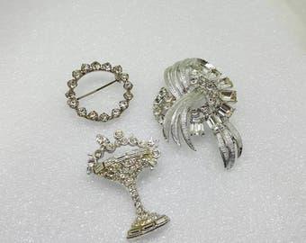 Coro Hot White Dazzle Brooch Lot  Bubbly Art Deco