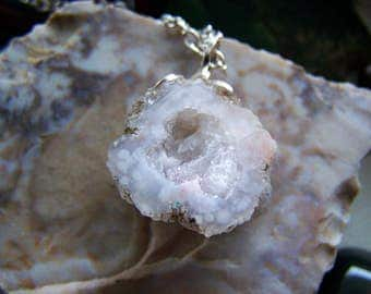 Natural Quartz Druzy Raw Geode Pendant