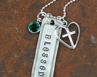 Blessed, Christian Jewelry, Christian Necklace, Religious Necklace, Charm Necklace, Inspirational, Blessed Mama, Motivational, Love Her