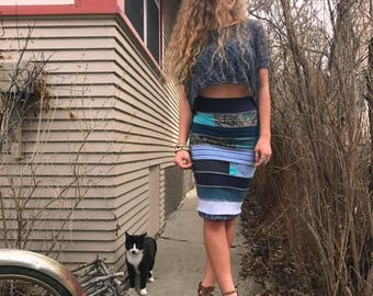 SALE Eco pencil SKIRT,size S/M, jersey skirt, patchwork skirt, eco clothing,patchwork pencil skirt, fitted skirt, hippie  skirt,blue skirt Z