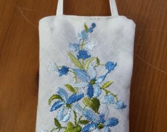 Lavender Sachet - Blue Flowers - Upcycled Handkerchief - Stocking Stuffer - Small Gift