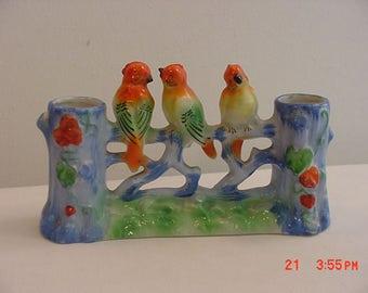Vintage Japan Ceramic 3 Song Birds Double Vase  17 - 518