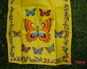 Vintage Linen Butterfly Dish Cloth Never Used  17 - 708