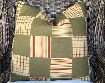 Large Green and Red Decorative Pillow created from a Patchwork Textile