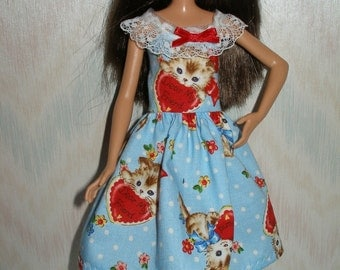 "Handmade 10.5"" teen sister fashion doll clothes - blue kittens and valentines dress"