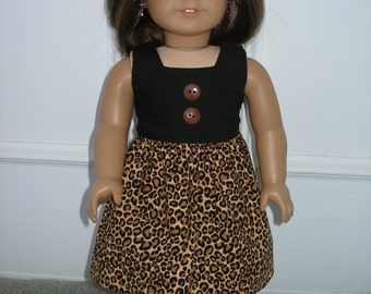 Dress for 18 inch dolls  -black and brown animal print with black shoes