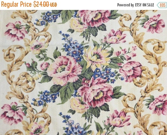 ON SALE Beautiful Floral Vintage Barkcloth Fabric Pieces-Nubby-Roses-44x30
