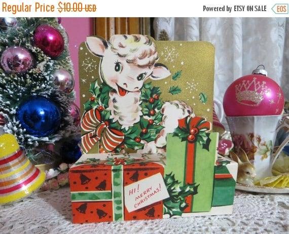 ON SALE Vintage Retro Mid Century Christmas Greeting Card-Cute Lamb-Unused-Childrens-Stand-Up-3-D
