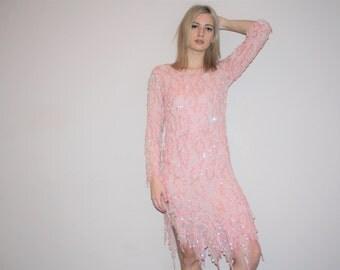 Vintage 1980s Pastel Pink Silk Beaded Fringe Flapper Sequin Cocktail Dress   - Vintage  Beaded Dresses  - Vintage Sequined Dresses  - W00253