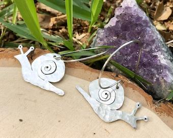 Snail earrings, metal snail hoop earrings, garden earrings