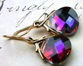 ON SALE Swarovski Crystal Briolette Earrings in Volcano and 14K Gold Filled Wires - Handmade with Swarovski Crystal - Rainbow of Colors