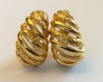 Vintage Givenchy Gold Nugget Hoop Clip-On Earrings - 1980's Half Hoop Design