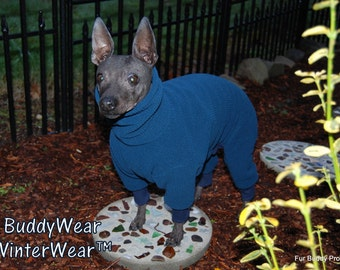 Polartec® 200 weight Fleece Winter Body Suit for  Italian Greyhounds, American Hairless, and all small dogs.