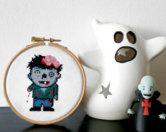 """Cross Stitch Zombie Hoop - 4"""" Finished and Framed Horror Wall Art - Embroidery Wall Decor"""