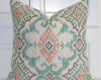 IKAT Decorative Pillow Cover - Aqua Coral Grey Pillow - Accent Pillow - Kilim Pillow - Both Sides Or Front Only - Cushion Pillow Case Cover
