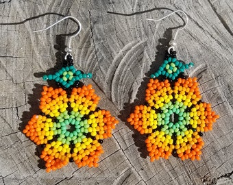 Orange Floral Flower Petal Beaded Earrings