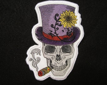 Embroidered Skull With Top Hat, Skull Iron On Patch, Skeleton Patch, Skull And Top Hat Iron On Patch,Skeleton Iron On Patch