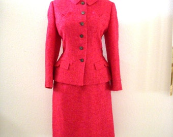Early 60s Pink Mohair Suit by Bardley - Vintage 1960s Jackie O Hot Pink Suit - Mohair Wool Pink Suit Jacket Skirt - Size Small to Medium