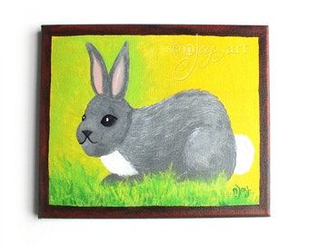 Whimsical Bunny Painting, Art For Kids Rooms, Nursery Decor, 8x10 acrylic canvas