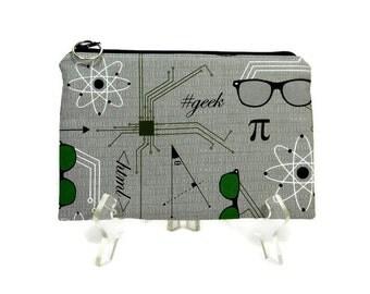 Geek Pouch, Cotton Zip Bag, Zipper Pouch, Pencil Case, Student Pouch, Cosmetic Bag, Gray Makeup Bag, Gadget Zipper Pouch, Padded Pouch