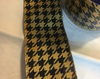 Gold and black Houndstooth wired ribbon 2.5inches wide 25 ft. long