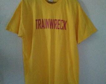 Trainwreck T Shirt / Graphic Tee / Yellow Tee / Funny / Sarcastic / Indie / Grunge / Punk Rock / Rock N Roll / Unisex / Women / Men / Guys