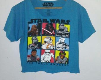 Star Wars TShirt / Crop Top / The Force Awakens / Graphic Top /Indie/ Grunge /Rocker / Cartoon Tee / Chewbacca / BB 8 / BB8 / Turquoise Blue