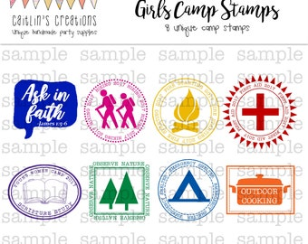 LDS Girls Camp Passport Stamps - Camp certification stickers - printable instant download - Custom passport - Template - Digital Print