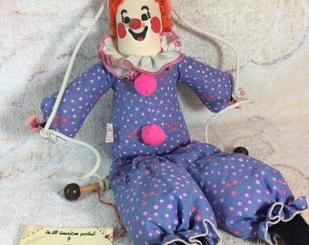 Vintage Hanging Clown Plushie Stuffed Toy on Swing Calico Critters - 70s 80s Kids Toys