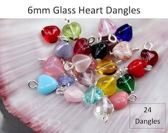 24 Twenty Four 6mm glass heart dangles- birthstone colors & more- silver, gold, ant brass, copper, gunmetal or antiqued silver plated loops