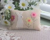Primitive Easter Bunny Pillow - Spring Flowers and Bunny Pillow