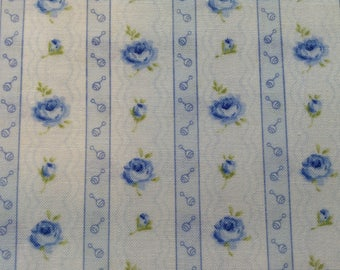 Blue Floral Fabric, 100% Cotton Sewing Quilting Fabric, Blue Roses on White Background, By The Yard, Tiny Treasures by RJR Fabrics