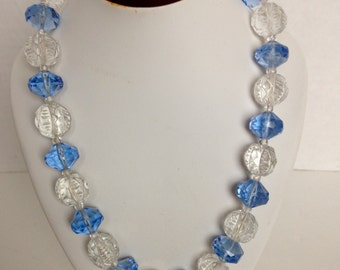 Vintage Art Deco CZECH Crystal Necklace Blue Faceted Beads Cast Crystal Deco Beads Fabulous 1930