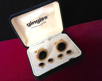 Vintage Tuxedo Gold And Black Cufflinks Button Shirt Tacks Set by GINGISS Custom Collection