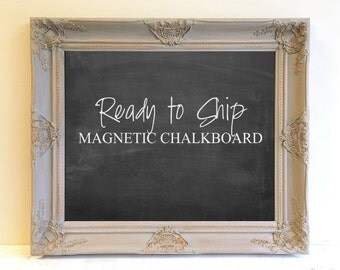 READY to SHIP Gray Magnetic Chalkboard Grey and Black Wall Organizer Chalk Board Framed Chalkboard Vintage Ornate Home Office Gift for Her