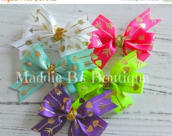 CLOSING SALE 5 pack Gold Arrow embossed hair bows-hot pink, aqua, white, lime green, & purple GOLD Arrow bows- by Maddie B's Boutique on Ets