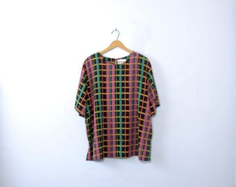 Vintage 90's striped blouse, boxy fit geometric top, size 20 / plus sized